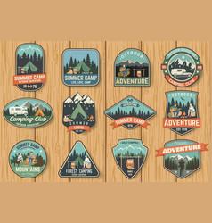 set summer camp badges on wood board vector image