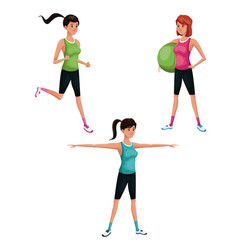 set woman sports training vector image