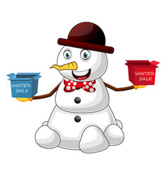 snowman winter sale on white background vector image