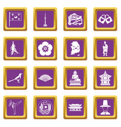 South korea icons set purple vector