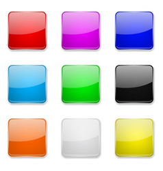 Square glass buttons colored set of 3d icons vector
