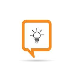 Square orange speech bubble with bilb icon vector