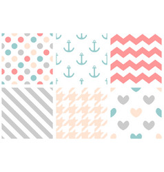 tile pattern set with pastel print on white vector image