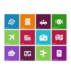 Travel icons on color background vector