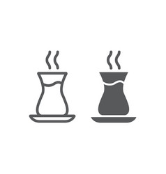 turkish tea line and glyph icon arab and drink vector image