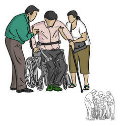 two people helping handicapped man vector image