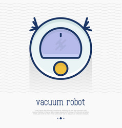 vacuum robot thin line icon vector image