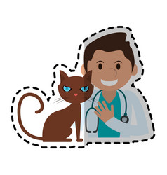 Veterinarian with pet icon image vector