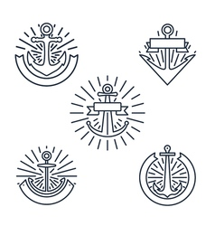 Vintage anchors linear logo set or line nautical vector
