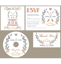 Vintage wedding design template seColored doodles vector image
