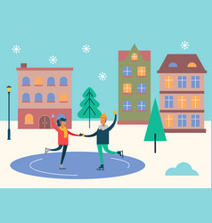 winter cityscape and people skating on ice rink vector image