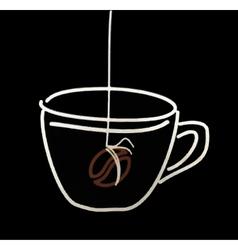 Coffee cup sketch in watercolor line vector image