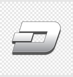 dash coin trendy 3d style icon vector image