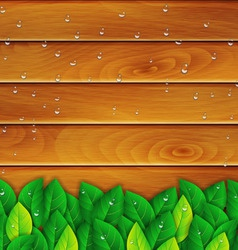 green leaves on a wooden background vector image vector image