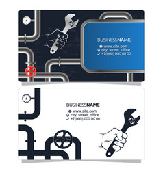 plumbing and pipes business card concept vector image vector image