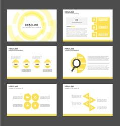 Yellow Tech presentation templates Infographic set vector image vector image