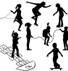 Active kids Children on roller skates jumping rope vector image