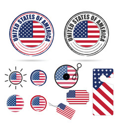 american flag in various poses set color vector image vector image