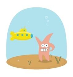 Cartoon scene of underwater ocean with vector image