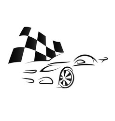 design of car and checkered flag vector image