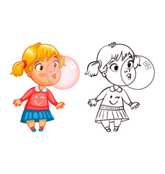 funny girl inflates a bubble of gum vector image