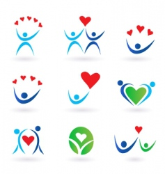 love relationship and community icons vector image vector image