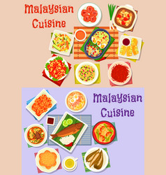 malaysian cuisine dinner dishes icon set design vector image vector image