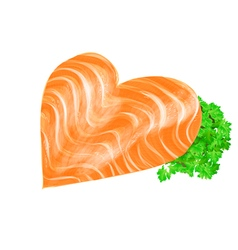 salmon heart vector image vector image