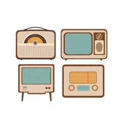 set of retro home electronics radio tv in vintage vector image