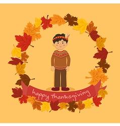 Circle Autumn Leaf Thanksgiving Indian Boy vector image