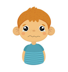 tearful upset cute small boy with big ears in blue vector image