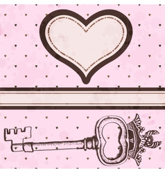 Vintage valentine card with antique key vector image