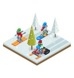Winter resort holidays ski snowboard sled vector image vector image