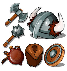ancient clothes and weapons of vikings vector image vector image