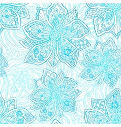 Blue and white ornate flowers pattern vector image vector image