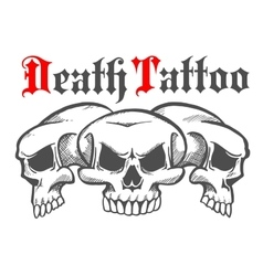 Group of skulls for death tattoo vector