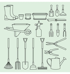 Linear set of garden tools and access vector image vector image