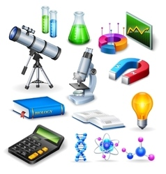 Science Realistic Icons Set vector image