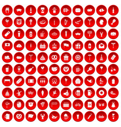 100 beer party icons set red vector