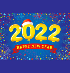 2022 lettering colorful confetti and ribbon blue c vector image
