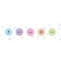 5 baseball icons vector