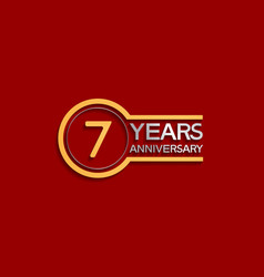 7 years anniversary golden and silver color vector