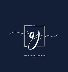 A j aj initial letter handwriting and signature vector