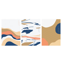 abstract art background with japanese wave vector image