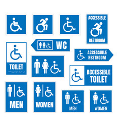 Accessible toilet sign restroom signs vector