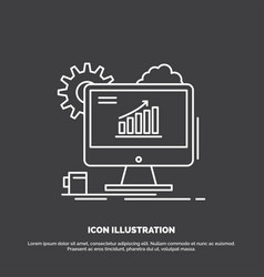 analytics chart seo web setting icon line symbol vector image