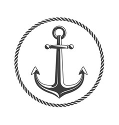 anchor with circular rope vector image