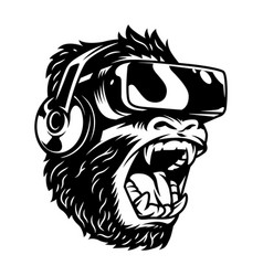 Angry monkey in virtual reality headset vector