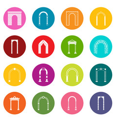 arch set icons many colors set vector image