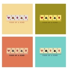 Assembly flat icons poker four of a kind vector